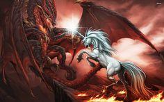 Fantasy Unicorn Dragon Wallpaper