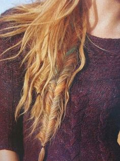 the subtle colors in this fishtail are gorgeous. Achieve them with some temporary hair chalk. For bolder color, wet the hair down with hairspray first.