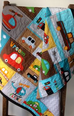 Baby Boy Quilt, Vroom, Vehicle, Patchwork Panel, Bright Turquoise, Cars, Trucks, Planes, Helicopter, Multi-Color, Red, Orange, Green, Yellow