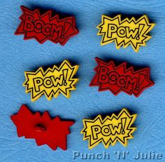 COMIC BOOK WORDS - Pow Boom Superhero Hero Novelty Dress It Up Craft Buttons