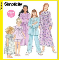 Simplicity 5382 Child's and Girls' Nightgown, Robe and Long or Short Pajamas Size: HH (3-6)   K5 (7-14) Availability: OOP Condition: Uncut, Factory Folded Swapper: Konnie Kapow Will swap for: patterns, fabric,trims/ notions, buttons, books and more...