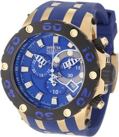 Invicta Men's 0914 Subaqua Reserve Chronograph Blue Dial Blue Polyurethane Watch Invicta. $267.74. Water-resistant to 500 M (1640 feet). Swiss quartz movement. Chronograph functions with 60 second, 30 minute and 1/10th of a second subdials; date function. Flame-fusion crystal; 18k gold ion-plated stainless steel case; blue polyurethane strap with 18k gold ion-plated stainless steel accents. Blue dial with blue and white hands, gold tone hour markers; luminous; unidir...