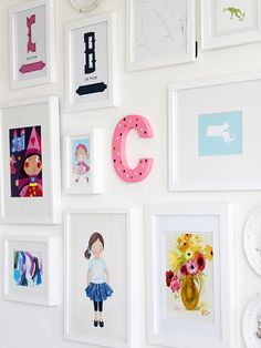 If you're looking to add a clever edge to a standard gallery wall, try hanging one unexpected piece to break up the uniformity. In this art collection, a hand painted letter brings a hint of whimsy to the otherwise all-white-framed grouping. Boy And Girl Shared Bedroom, Big Girl Rooms, Painting Wooden Letters, Painted Letters, Hand Painted, Diy Décoration, Diy Painting, Home Decor Inspiration, Home Accessories