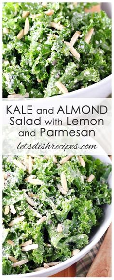 Kale and Almond Salad with Lemon and Parmesan: Fresh kale is tossed with almonds and Parmesan cheese in a tangy lemon vinaigrette. Kale Salad Recipes, Veggie Recipes, Vegetarian Recipes, Cooking Recipes, Healthy Recipes, Dinner Recipes, Kale Salads, Recipes With Kale, Gourmet