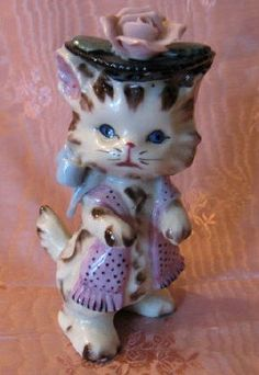 Vintage Lefton Dressed for Town Cat Figurine by threemartinilunch, $20.00