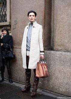 Cue Milan. Cream topper. Celine bag. Aces to it all.