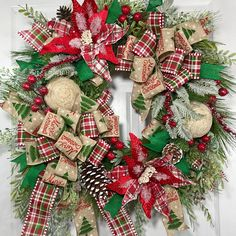 This unique Wreath measures 28 inches diagonally from tip to tip. Designed on a Pine wreath with ribbons, and all the trimmings! All our wreaths listed are made and ready to ship within 1-3 days of purchase. Once your design is shipped, we will send you a shipping conformation as well as tracking information. Purchasing as a gift? No problem! We would be happy to include a personalized note from you on one of our mini cards! Just let us know via message when checking out. All wreath…