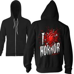 Terror Threads Bloody Toast Horror Zip Hoodie - Ringspun Cotton/Polyester Mix - Unisex Adult Sized Hoodie - View Sizing Info - Proudly made in the USA - Professionally Screen Printed - Wash cold Insid
