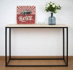 Mueble recibidor estilo industrial con estructura pintada. Consola de recibidor o pasillo original, fabricada en España. #tiendaonline #industrial #vintage