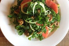 Kale and avocado salad with grapefruit fennel and walnuts recipe, Element – Little Bird Unbakery is back with a delicious raw salad ampndash an ideal way to add fresh greens into your day - Eat Well (formerly Bite) Grapefruit Avocado Salad, Kale Avocado Salad, Spinach Salad, Walnut Recipes, Side Recipes, Vegan Recipes, Kale And Spinach, Vegetable Sides, Fennel