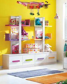 So bright!  Cute Unique Racks Design For Kids Room