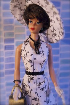 Bubblecut Barbie - my first Barbie she came in a black and white, strapless, one-piece bathing suit