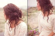Beautiful boho inspired low messy prom updo hairstyle for long hair - messy hairstyle updo 2015