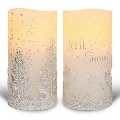 """463-929 - Bellezzina """"Let it Snow"""" Platinum Collection 2pc 6"""" Flameless LED Wax Candles"""
