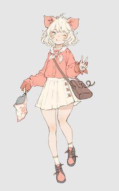 Original Artwork by Anime Chibi, Kawaii Anime, Kawaii Art, Cartoon Kunst, Cartoon Art, Character Concept, Character Art, Concept Art, Anime Poses Reference