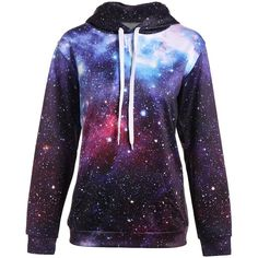 Kangaroo Pocket Drawstring Galaxy Hoodie (96 RON) ❤ liked on Polyvore featuring tops, hoodies, jumper, star, hooded sweatshirt, blue hoodies, galaxy print hoodie, galaxy top and blue galaxy print hoodie