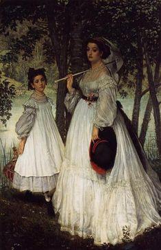 The Two Sisters Portrait, 1863 by James Tissot. Realism. portrait. Musée d'Orsay, Paris, France