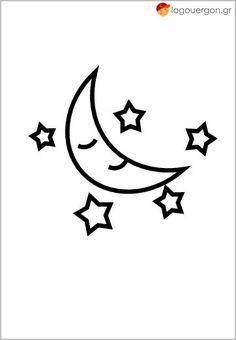 Χρωμοσελίδα το φεγγάρι με τα αστέρια  (παχύ περίγραμμα 10στ) Character, Home Decor, Art, Art Background, Decoration Home, Kunst, Interior Design, Gcse Art, Home Interior Design