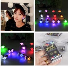 Brand Flash LED Ear Ring Lights Earrings Hairpins Strobe Strobe Party Items Magnets Fashion Club Holiday Night Lamp Fast Shipping Online with $1.1/Piece on Ok360's Store   DHgate.com