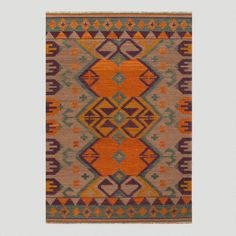 One of my favorite discoveries at WorldMarket.com: Tan and Teal Kilim Flat-Woven Wool Rug