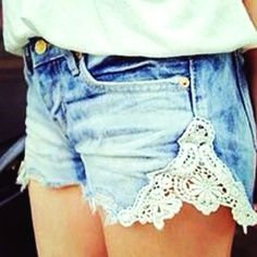 """""""DIY: Add Lace to Your Jean Shorts!"""" This is a simple DIY that will add tons of flair to your jean shorts for summer!"""