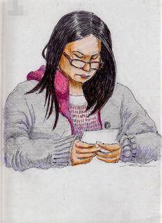 This is a sketch of the lady who put on the gray knit jacket I drew in the train.