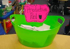 This is a Prediction pail.  When I introduce a new story for Shared Reading we always take a picture walk first and make predictions.  The kiddos write their predictions on a prediction page then fold them up and put them in the pail.  The next day we read the story.  The kids are so excited to open up their prediction pages and show everyone if they predicted what would happen!