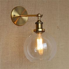 "Universe of goods - Buy ""American Vintage Wall Lamps Glass Ball Retro Loft Wall Sconces Bedroom Living Room Hallway Light Fixtures Arandela De Parede"" for only USD. Industrial Wall Lights, Vintage Industrial Lighting, Vintage Wall Lights, Industrial Light Fixtures, Industrial Style, Industrial Shelving, Hallway Light Fixtures, Wall Mount Light Fixture, Wall Sconce Lighting"