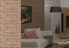 Tendência no mercado, cerâmica com detalhes de tijolo aparente. #sala #livingroom #incefra #piso #pisoceramico #decor #decoracao #ceramica
