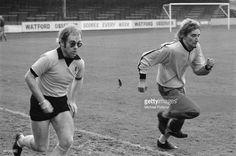 Elton John and Rod Stewart football training at Watford Football Club 1974 Rod Stewart, Watford Fc, Captain Fantastic, Music Photographer, Soccer Fans, George Michael, John Lennon, David Bowie, How To Relieve Stress