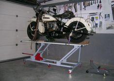 Elevador de motos casero - Fabricación - Harley Clasica Motorcycle Lift Table, Bike Lift, Car Tools, Gaston, Cars And Motorcycles, Harley Davidson, Workshop, Drawings, Ideas