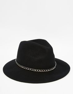 ASOS+Fedora+Hat+In+Black+Felt+With+Chain