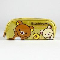 Rilakkuma Pencil Case - Love Smile Yellow Zippered Pouch Relaxed Bear Licensed