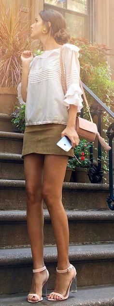 White Blouse / Green Skirt / Light Sandals