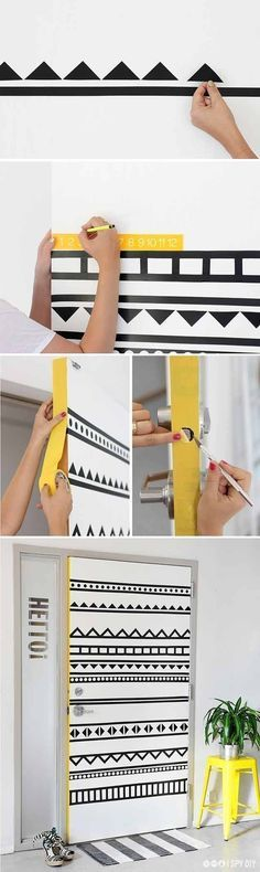 Decora una puerta simplemente con cinta adhesiva de colores (preferiblemente tipo washi). No olvides cortarlas siguiendo este patrón geométrico.