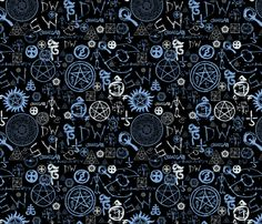 Supernatural Symbols fabric by traceygurney on Spoonflower - custom fabric