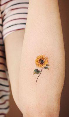 sunflower tattoo, Small word tattoo on arm, Tiny tattoo design for woman, simple… Sunflower tattoo – Top Fashion Tattoos Wörter Tattoos, Mini Tattoos, Foot Tattoos, Body Art Tattoos, Small Tattoos, Sleeve Tattoos, Tatoos, Neck Tattoos, Ankle Tattoos