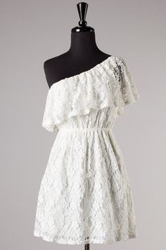 Esmerelda One Shoulder Lace Dress - White <3