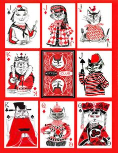 Kitten Club Playing Cards - samples in set - $9.50