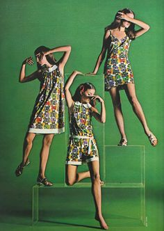 March 1969. 'Spring wingding. All the highest flying colors in captivity just landed on our new Butter-Flight print.' ~ Vanity Fair