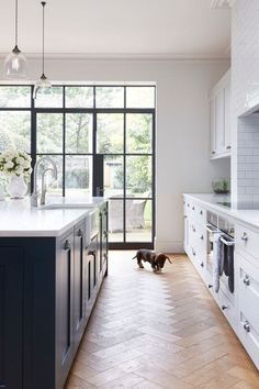 BECKI OWENS--Colors of the Modern Farmhouse + Paint Guide. Beautiful blue Farmhouse kitchen with steel frame doors.