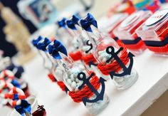 Mini anchors on mini bottles Sailor Party, Sailor Theme, Nautical Mickey, Nautical Party, Mickey Party, Pirate Party, Baby Shower Themes, Baby Boy Shower, Baby Shower Marinero
