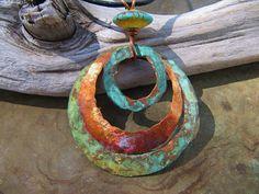 Tidepool Blue Copper Jewelry Copper Pendant Patina Copper Medallion Lampwork Bead