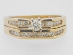 0.60 CARAT T.W. LADIES ROUND CUT DIAMOND WEDDING SET 14K YELLOW GOLD #26356 #SolitairewithAccents