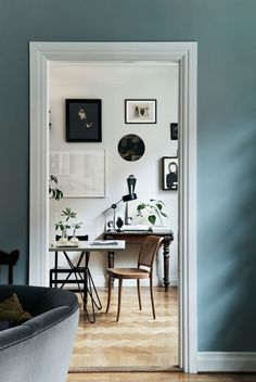 Dusty Blue Walls -- Six Paint Colors Worthy of Ditching White Walls Room Inspiration, Interior Inspiration, Sunday Inspiration, Interior Ideas, Interior Decorating, Interior Design, Decorating Games, Interior Stylist, Scandinavian Interior
