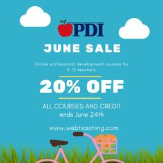 Want to finish some PD units this summer? PDI is offering 20% off ALL COURSES AND CREDIT until 6/24! What better time than the summer to focus on some PD?! We now have over 70 courses to choose from. Did we mention you can do them all ONLINE?! In a time when we need to be socially distant, online classes are the best option for your health and convenience because you will also have an ENTIRE YEAR to complete a flex-time course with us. 🍎 🍎 🍎 🍎 Link in bio for more info and full course… Online Education Courses, Baccalaureate, For Your Health, Professional Development, Teacher, Link, Summer, Professor, Continuing Education