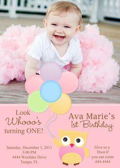 Owl with Balloons 1st Birthday Invitation