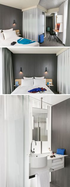 In this modern hotel room, light weight curtains hide the bathroom from the sleeping area.