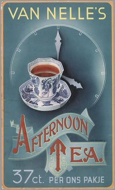 'Van Nelle's Afternoon Tea' - Dutch advertising tea poster by Jean Walther (1939~1940)