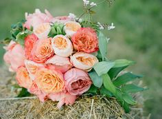 pretty pink + peach bouquet // photo by Stacey Hedman, floral design by Petal Floral Design // View more: http://ruffledblog.com/romantic-marthas-vineyard-wedding/
